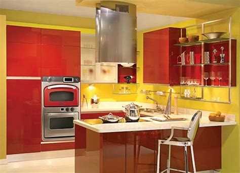 Yellow And Red Kitchens | red kitchen decor for modern and retro kitchen design