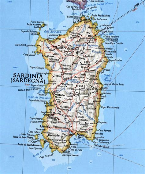 printable road map of sardinia sardinia map mapsof net
