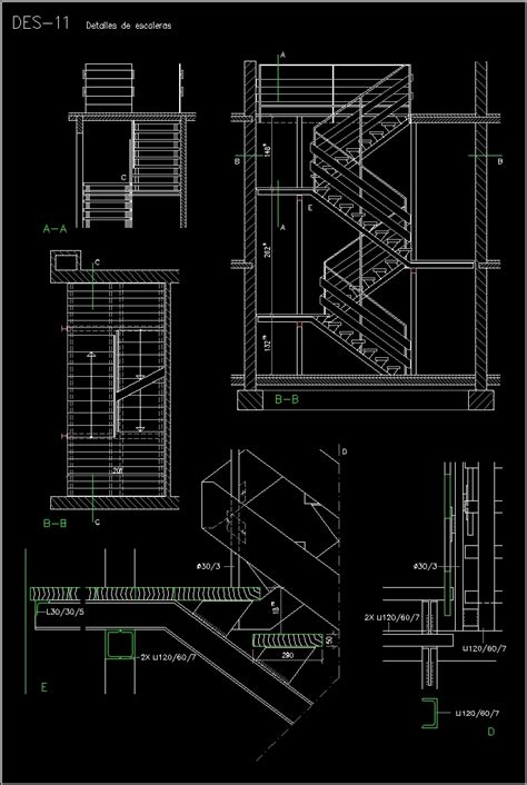 Stair Section Dwg by Metallic Stair Dwg Section For Autocad Designscad