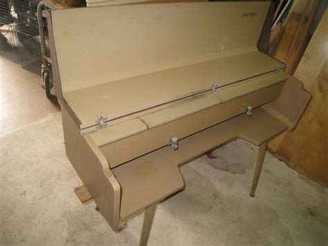 vintage brother knitting machine table stand cabinet pu