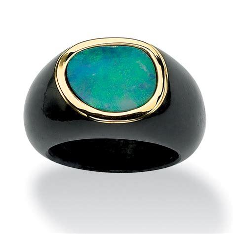 black jade palmbeach jewelry genuine blue opal cabochon and black