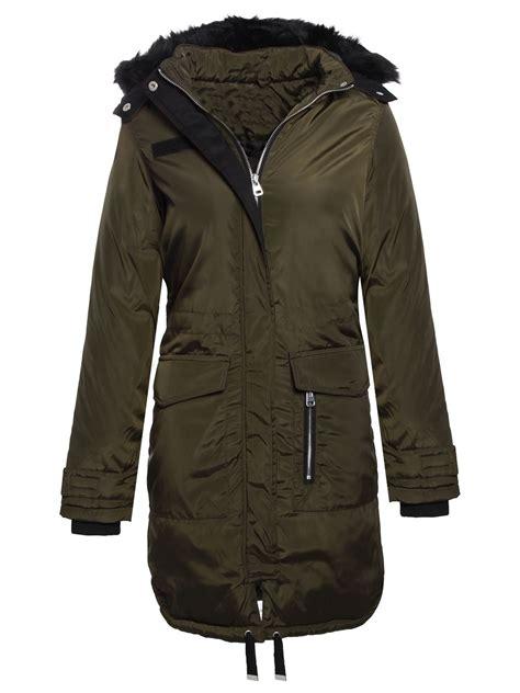 Hooded Fishtail Jacket brave soul womens fur hooded fishtail parka