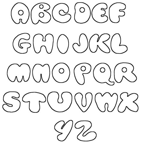 printable alphabet in bubble letters printable bubble letters printable alphabet stenciling