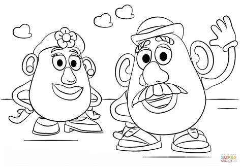 Mr And Mrs Potato Head Coloring Page Free Printable Mrs Potato Coloring Pages