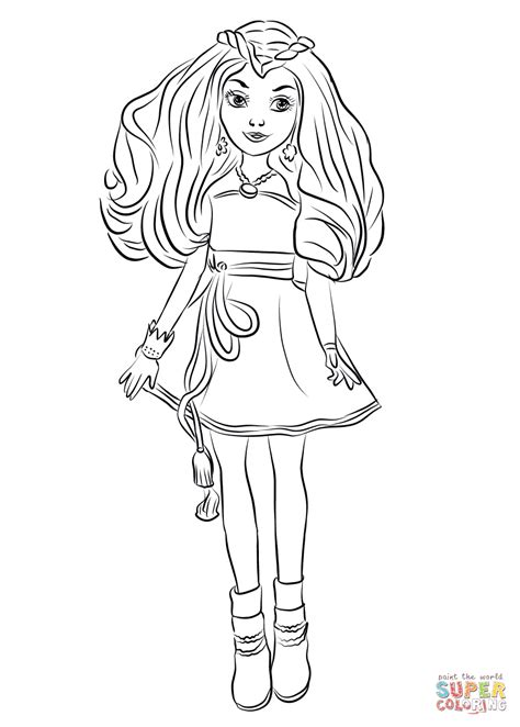 descendants coloring pages of evie evie from descendants wicked world coloring page free
