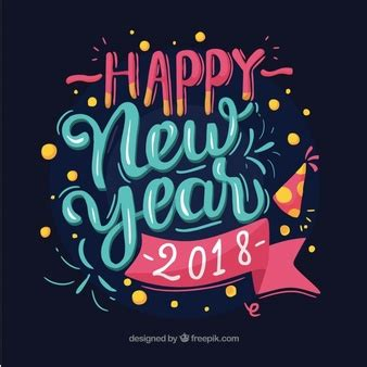 new year two week happy new year 2018 text design vector free