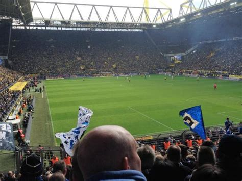 signal iduna park away section standing with away fans hamburg picture of signal iduna