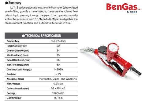 Bengas 3 4 Automatic Fuel Nozzle With Flowmeter lly 25s auto fuel nozzle with flowmeter bengas
