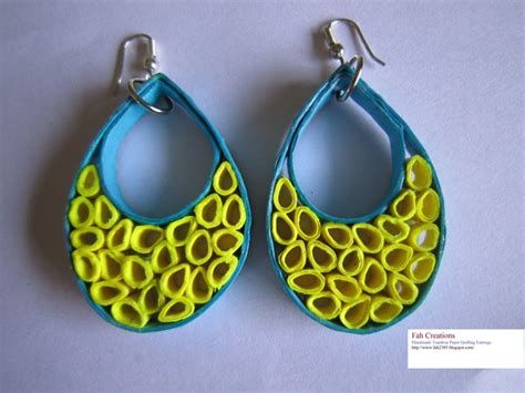 Handmade Paper Quilling Earrings - fah creations handmade teardrop paper quilling earrings