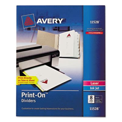 Ave 11528 Avery Customizable Print On Dividers 8 Tab Letter Avery 11370 Template