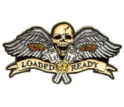 tattoo guns wings patch large novelty patches thecheapplace loaded and ready skull wings guns small patch 2nd