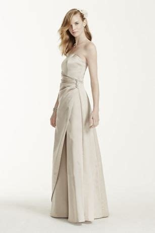 satin gown with side drape brooch satin gown with side drape brooch david s bridal