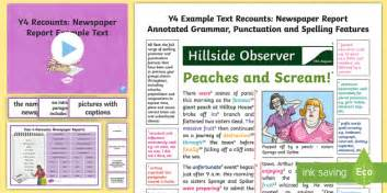 Y4 Recounts Newspaper Report Example Text Genre Wagoll