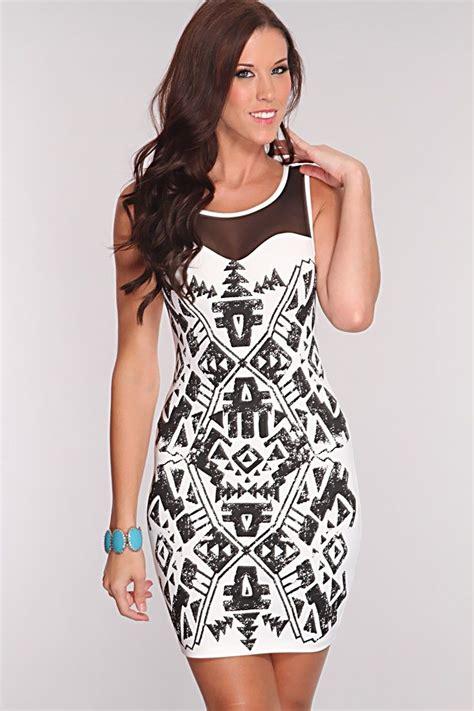white black tribal print dress fashion