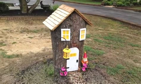 Make a cute fairy house from an ugly tree stump   DIY