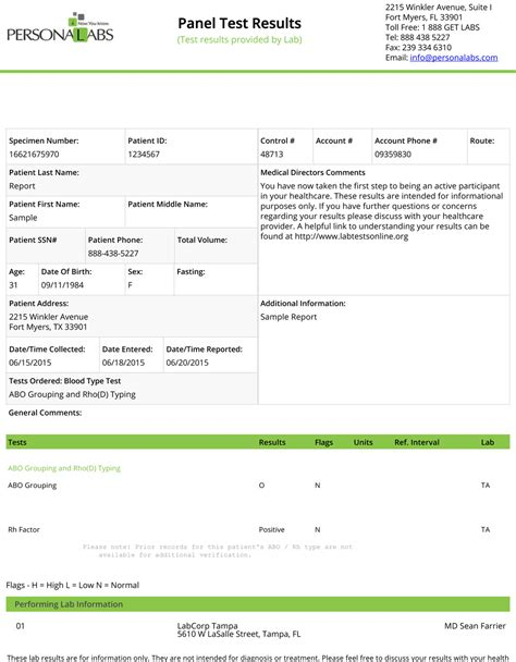 lab test report template quest labs blood test results