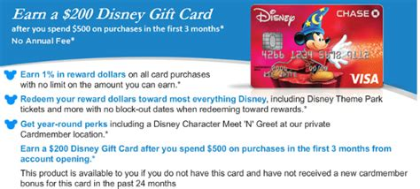 Disney Credit Card 200 Gift Card Offer - chase disney 200 in disney credit sign up bonus no af 50 per referral share