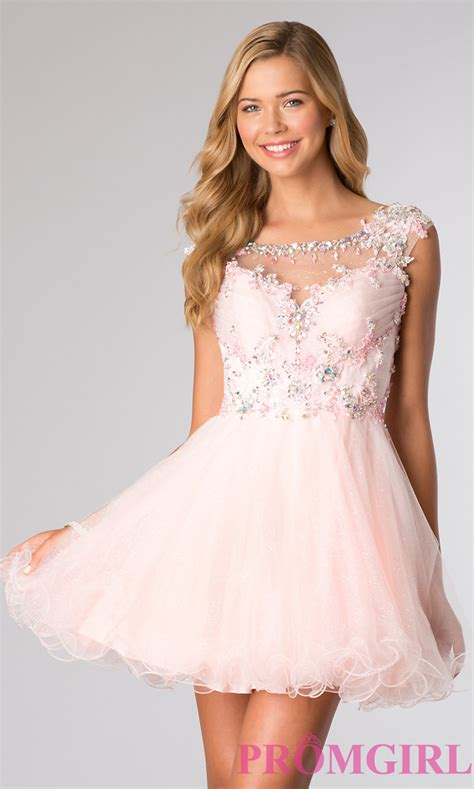light pink color dresses cap sleeve short beaded homecoming dress promgirl