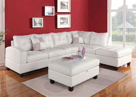 kiva sectional sofa  white bonded leather  acme