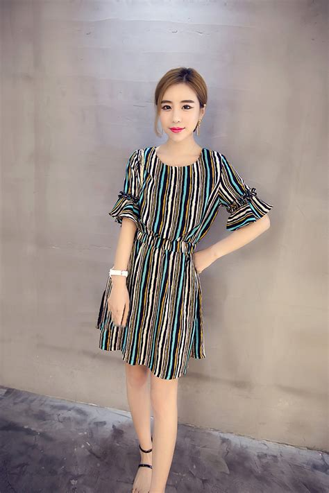 Dress Premium Quality Il7850 1 chiffon premium quality sweet princess vertical stripes dress