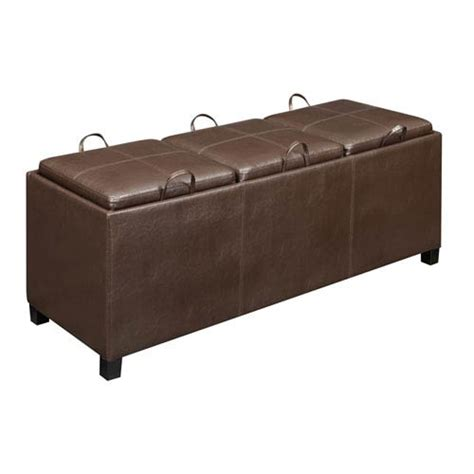 Ottoman With Tray Top Designs4comfort Tribeca Espresso Ottoman With Three Tray Tops Convenience Concepts