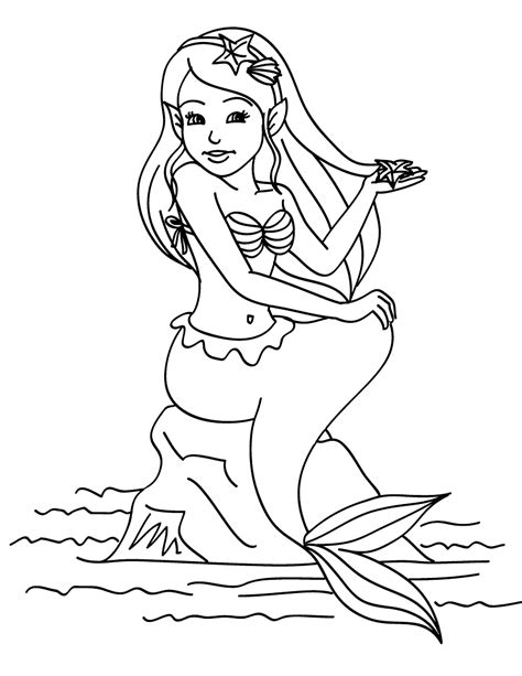 mermaid coloring pages coloring page mermaid sitting on a rock