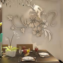 Mirror Stickers For Walls romantic flower acrylic mirror wall sticker for living