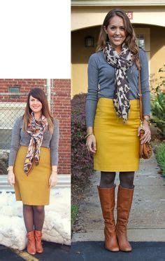 Loe Top Pashmina Yellow gray sweater mustard skirt leopard scarf cognac boots