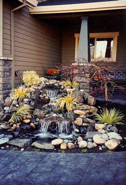 stone waterfall  perfect    odd corner   front porch outtdoors backyard