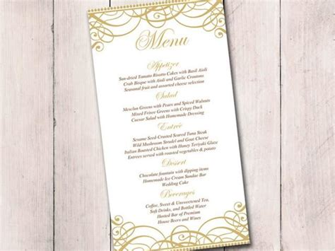 Gold Wedding Menu Card Template Wedding Reception Menu Flourish Gold Quot Exquisite Quot Menu Reception Menu Template