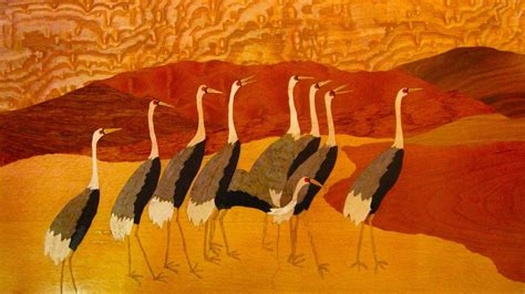 custom  marquetry landscape japanese cranes  mt