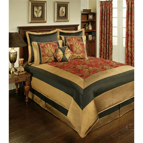 black and red comforter sets king 8pc red black gold framed floral jacquard comforter set