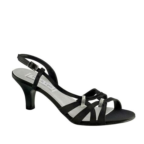 wide width low 2 quot heel black satin strappy slingback sandals evening heels shoes ebay