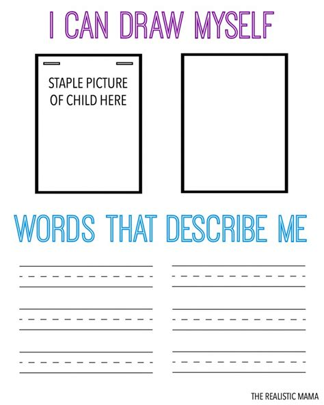 describe yourself pattern free printable worksheet for kids part 2 worksheet