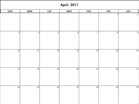 Kalender April 2011 April 2011 Printable Blank Calendar Calendarprintables Net