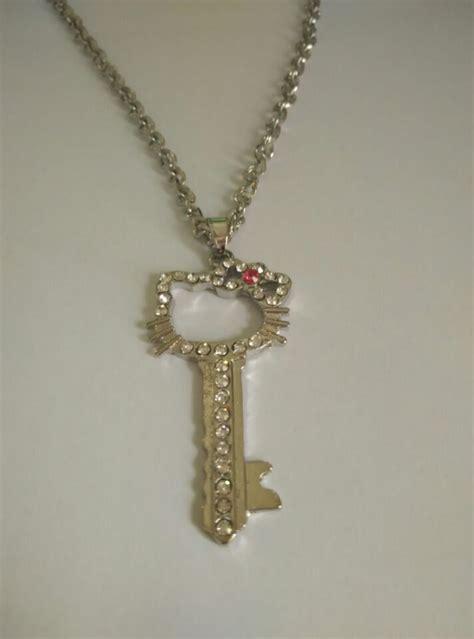 1 pc lot pink bow key charm hello pendant necklaces