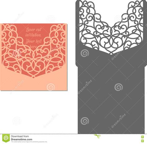 Laser Cut Envelope Template For Invitation Wedding Card Stock Vector Image 72590418 Laser Cut L Template