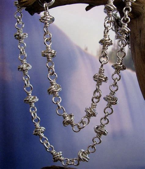 Handmade Silver Chain - solid sterling silver chain necklace handmade silver knot
