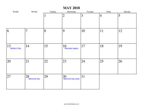 Calendar 2018 Memorial Day May 2018 Calendar