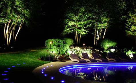 Landscape Lighting Ideas Blue Led Pool Luxury Backyard Landscape Lighting Design Tips
