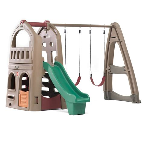 2 step swing set naturally playful 174 playhouse climber swing extension