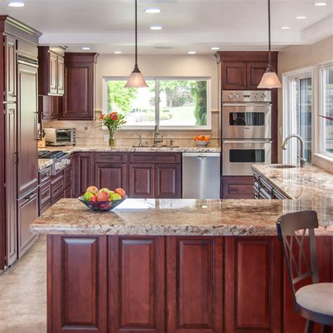 traditional kitchen design ideas pictures remodel and decor glazed cherry cabinets like how