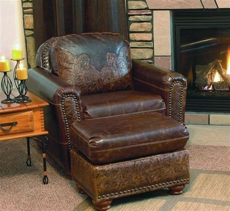 rustic leather chair and ottoman 1000 images about decor leather rustic western furniture