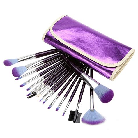 Brush Makeup In Pouch 16pcs purple cosmetic makeup brush set leather pouch alex nld
