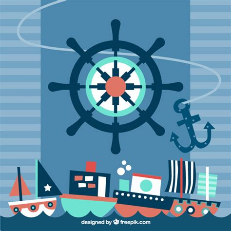 nautical background flat nautical background with big rudder and several ships