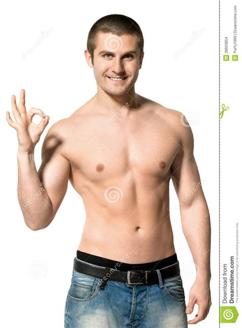 best stock photos of photo handsome man showing cell phone black happy man shirtless showing ok sign stock images image