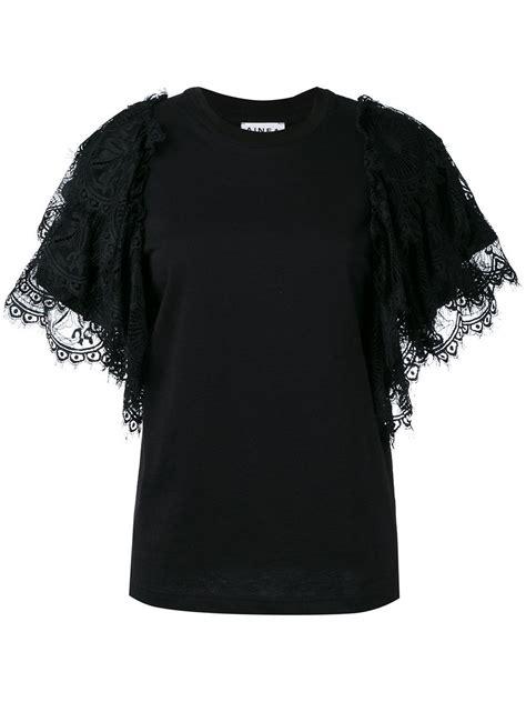 Ruffle Sleeve T Shirt ainea ruffle sleeve t shirt in black lyst