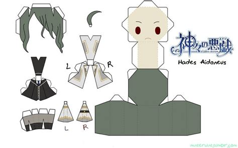 Anime Papercraft Pattern - paper anime craft hades kamigami no asobi papercraft