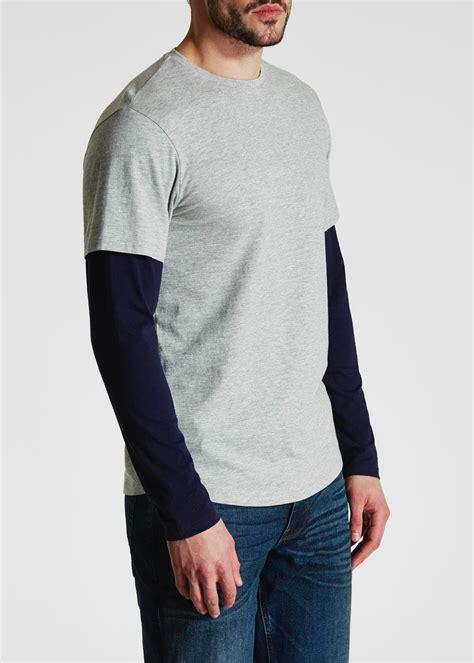 Sleeve Layered Shirt sleeve layered t shirt grey matalan