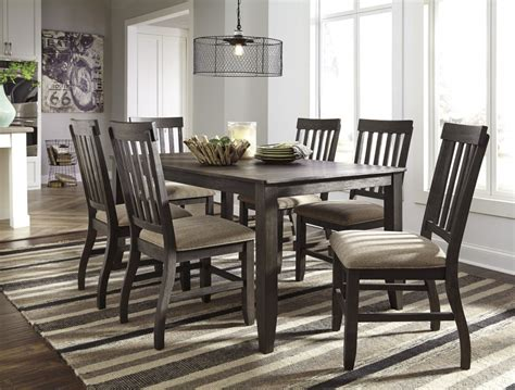 brown dining room table dresbar grayish brown rectangular dining room table 6 uph side chairs d485 25 01 6